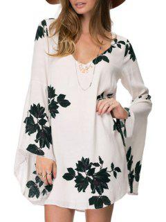 Floral Hollow V Neck Long Sleeve Dress - White M
