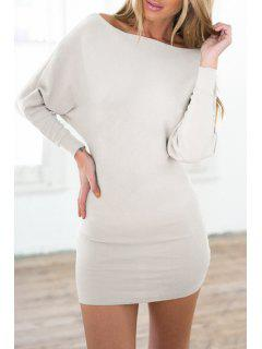 Slash Neck Batwing Sleeve Bodycon Dress - Milk White Xl