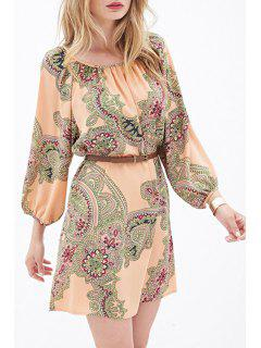 Ethnic Print 3/4 Sleeves Dress - Orangepink Xl