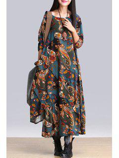 Paisley Print Scoop Neck Long Sleeve Dress - Blue