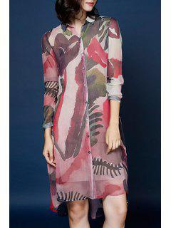 Abstract Print Shirt Neck Long Sleeve Dress - Red Xl