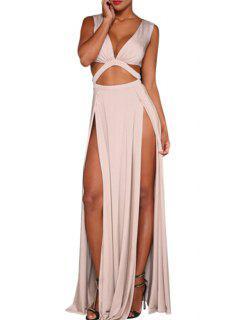 High Slit Cut Out Club Dress - White L