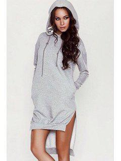 Light Gray Hooded Long Sleeve Dress - Gray L