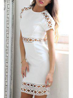 Short Sleeve Hollow Out Bodycon Dress - White L