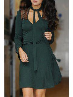 V-Neck Voile Spliced Green Dress - Green M
