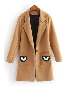 Pocket Eye Print Lapel Collar Long Sleeves Coat - Coffee L