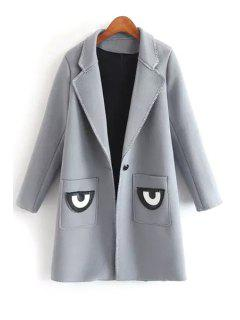 Pocket Eye Print Lapel Collar Long Sleeves Coat - Gray L