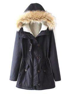 Fleece Lining Military Parka Coat - Cadetblue L