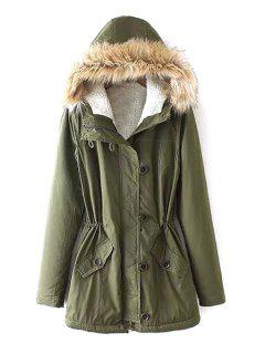 Fleece Lining Military Parka Coat - Green M