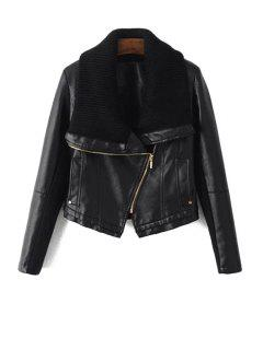 Sweater Turn-Down Collar Spliced PU Leather Jacket - Black S