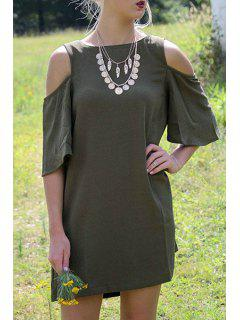 Cut Out Round Neck Half Sleeve Dress - Army Green L