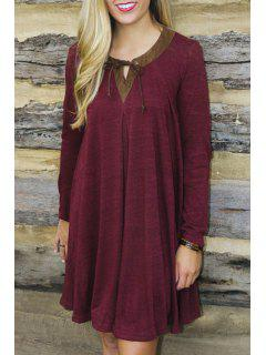 Long Sleeve Wine Red Dress - Wine Red S