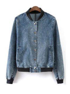 Stand Neck Single-Breasted Denim Jacket - Blue L