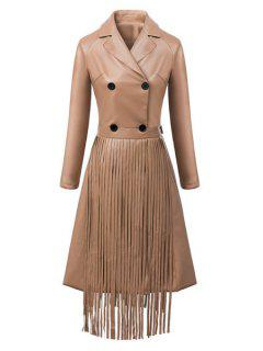 Double-Breasted Fringed Faux Leather Coat - Brown L