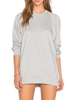 Gray Round Collar Long Sleeves Pullover Sweatshirt - Gray M