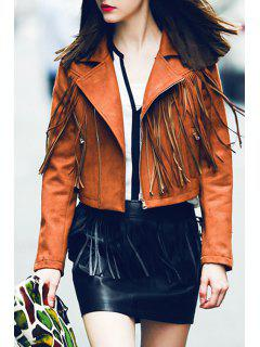 Lapel Fringed Suede Jacket - Brown Xl