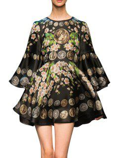 Bell Sleeve Floral Print Prom Dress - Black L