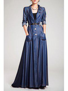 Denim Spliced Long Sleeve Maxi Trench Coat - Blue M