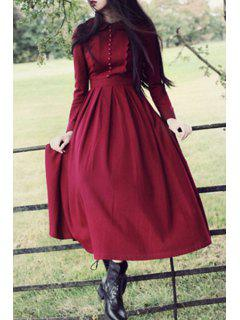 Peter Pan Collar Pleated Claret Dress - Claret L