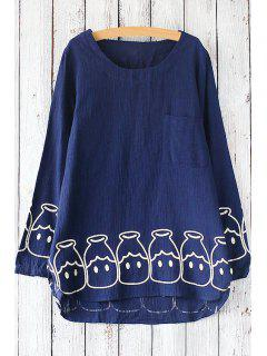 Printed Pocket Round Collar Long Sleeves T-Shirt - Blue
