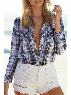 Plaid Shirt Neck Long Sleeve Playsuit - White And Black M
