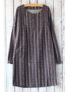 Tree Print Striped Round Collar Long Sleeves Dress - Deep Gray