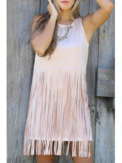Tassels Spliced Sleeveless Sundress - Light Pink S