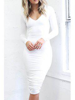 Solid Color Backless Long Sleeve Bodycon Dress - White L