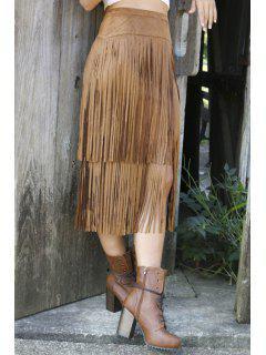 Tassels Splicing High Waisted Skirt - Brown M