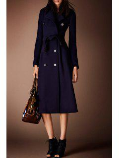 Blue Double-Breasted Wool Coat With Belt - Blue Xl
