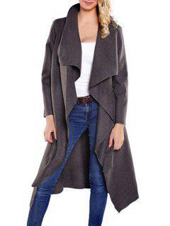 Large Lapel Self-Tie Belt Wool Coat - Gray L