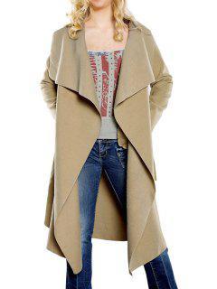 Large Lapel Self-Tie Belt Wool Coat - Khaki S