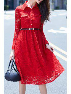 Crochet Flower Red Lace Dress With Belt - Red M