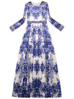 Blue And White Porcelain Printed Long Sleeves Maxi Dress - Blue Xl