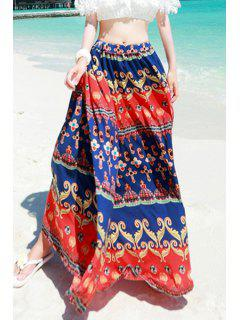 High-Waisted Ethnic Print Long Skirt - Blue And Red M