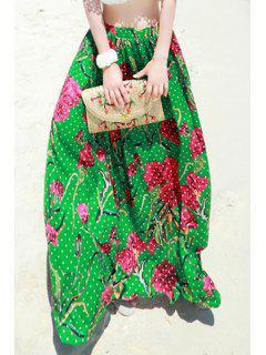 Polka Dot Floral Print Long Skirt - Green M