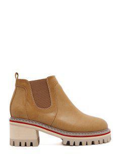 Elastic Platform Pure Color Ankle Boots - Brown 35