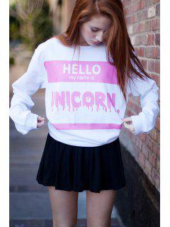 Autumn Letter Print White Sweatshirt - White
