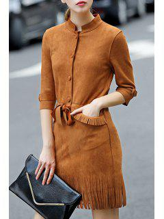 Faux Suede 3/4 Sleeves Solid Color Tassels Dress - Brown S