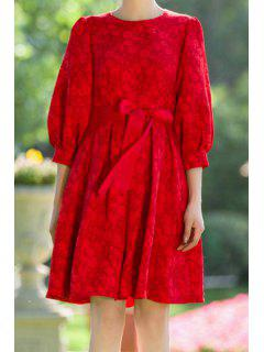Red Round Neck 3/4 Sleeve A Line Dress - Red S
