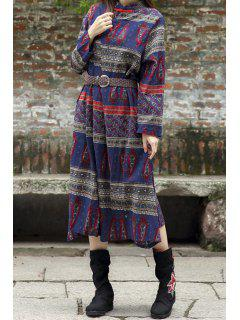 Paisley Print Stand Neck Long Sleeve Dress - Blue