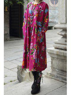 Colorful Floral Scoop Collar Long Sleeve Dress - Rose