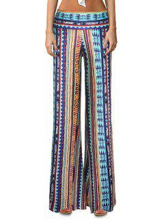 Geometric Print Striped Bell Bottoms - S