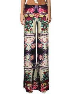 High-Waisted Flower Print Bell Bottoms - L