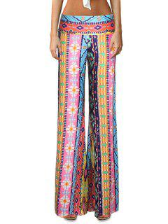 Elastic Waist Printed Flare Leg Pants - L