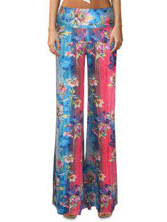 Floral Color Block Flare Leg Pants - Xl