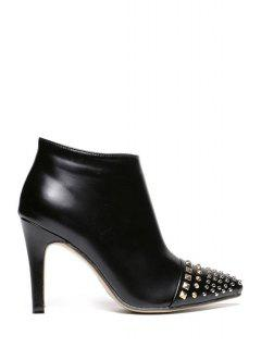 Metallic Rivets Zipper Black High Heel Boots - Black 39