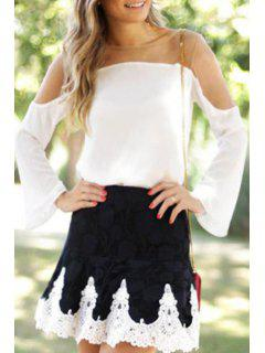 See-Through Long Sleeves Voile Spliced Blouse - White M