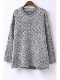 High Low Hem Long Sleeves Argyle Print Sweater - Gray