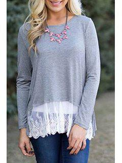 Long Sleeve Lace Hem Grey T-Shirt - Gray Xl